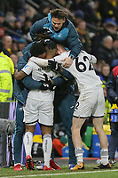 Luciano Narsingh of Swansea City is mobbed by team mates as he celebrates his goal during the Premier League match between Watford and Swansea City at the Vicarage Road, Watford, England, UK. Saturday 30 December 2017