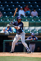 Charlotte Stone Crabs right fielder Angel Moreno (1) at bat during a game against the Bradenton Marauders on April 9, 2017 at LECOM Park in Bradenton, Florida.  Bradenton defeated Charlotte 5-0.  (Mike Janes/Four Seam Images)