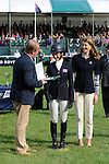 4th September 2016, Becky Woolven during the presentations by Jeremy Hicks, Managing Director of Land Rover UK and Miranda Rock, President of The Land Rover Burghley Horse Trials at the 2016 Land Rover Burghley Horse Trials, Stamford, United Kingdom. Jonathan Clarke