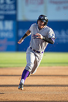 Jake Peter (3) of the Winston-Salem Dash hustles towards third base against the Salem Red Sox at LewisGale Field at Salem Memorial Ballpark on May 13, 2015 in Salem, Virginia.  The Red Sox defeated the Dash 8-2.  (Brian Westerholt/Four Seam Images)
