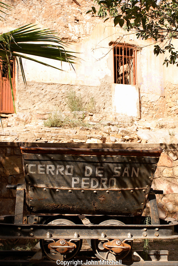 Old mining car in the ghost town of Cerro de San Pedro, San Luis Potosi state, Mexico