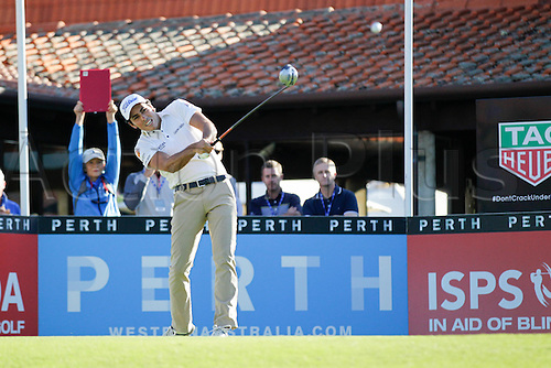 25.02.2016. Perth, Australia. ISPS HANDA Perth International Golf. Carlos Pigem (ESP) hits his first shot for the tournament on tee 1 day 1.
