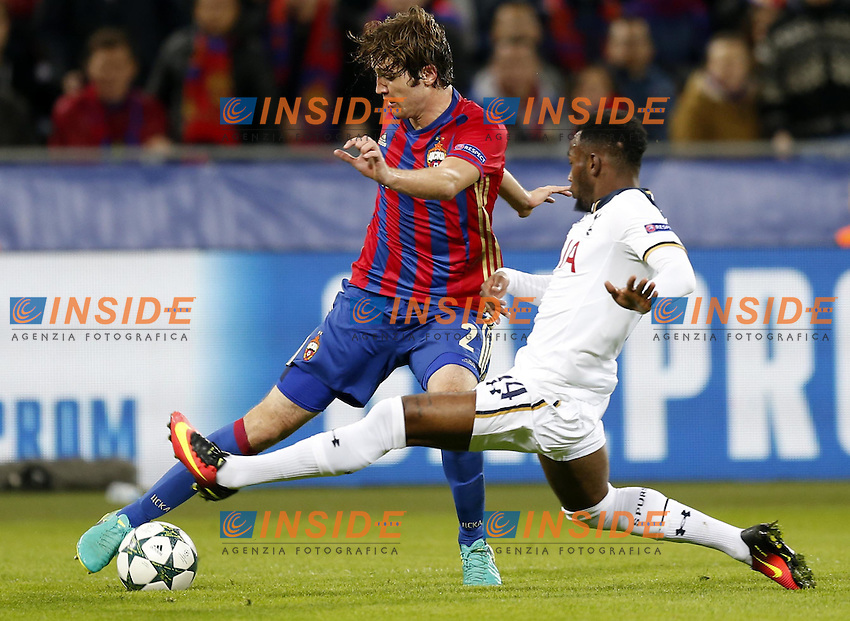CSKA Moscow's Mario Fernandes (L) and Tottenham Hotspur's Georges-Kevin N'Koudou <br /> Mosca 28-09-2016 <br /> CSKA - Tottenham Hotspurs<br /> Foto ITAR TASS / Panoramic / Insidefoto <br /> ITALY ONLY