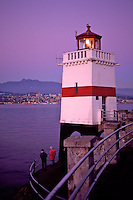 Brockton Point Lighthouse, and fishers, guiding ships through First Narrows into Burrard Inlet, Vancouver, BC, taken in Stanley Park