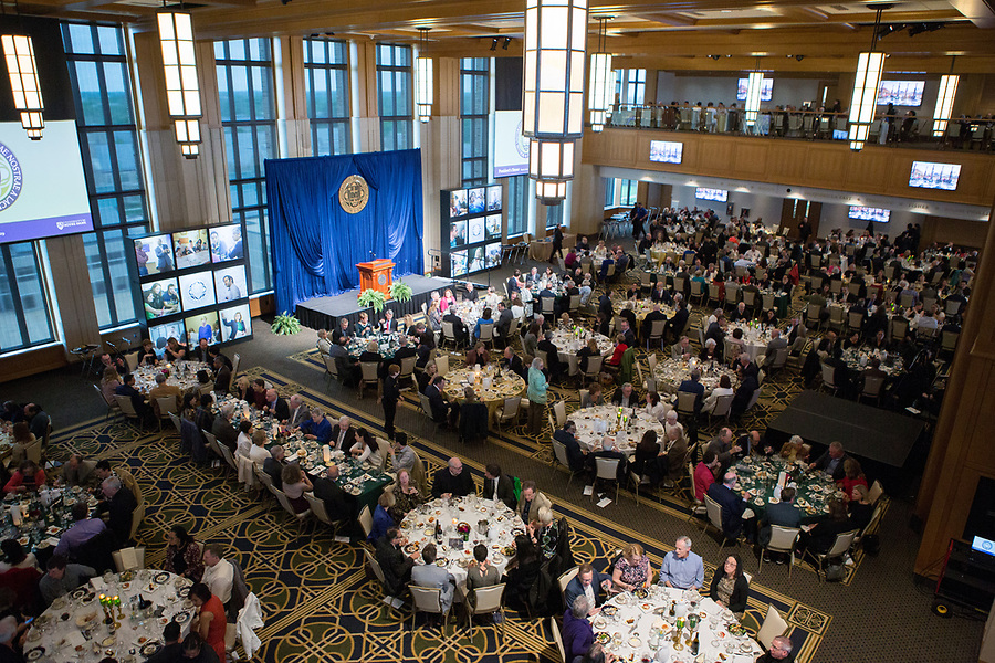 May 21, 2019; Faculty Dinner in the Dahnke Ballroom, Duncan Student Center. (Photo by Jennifer Mayo/University of Notre Dame)