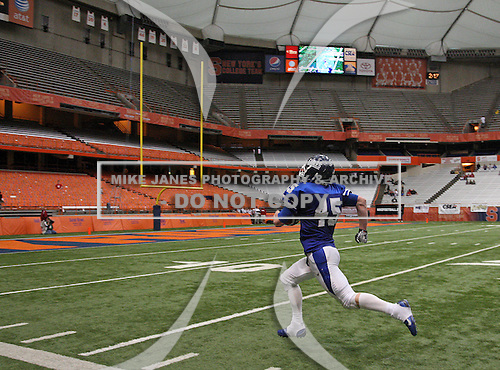 Southwestern Trojans varsity football against the Dobbs Ferry Eagles during the NYSPHSAA Class-C State Championship game at the Carrier Dome on November 27, 2011 in Syracuse, New York.  Dobbs Ferry defeated Southwestern 39-0.  (Photo By Mike Janes Photography)