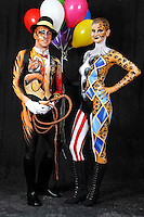Circus bodypainting and photoshooting with model Stefan as ringmaster / tiger and model Randy as a clown / leopard in the Studio Düsterwald. Hamelin-Holtensen on February 7, 2015 - Body Paint Artist: Jörg Düsterwald