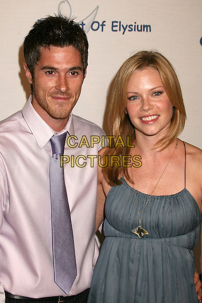 "DAVE ANNABLE & SARAH JANE MORRIS.Esquire Magazine Unveils the 'Esquire House 360' with an Opening Night Celebration to Benefit ""The Art of Elysium"", Beverly Hills, California, USA..October 19th, 2006.Ref: ADM/BP.half length pink shirt purple tie blue dress.www.capitalpictures.com.sales@capitalpictures.com.©Byron Purvis/AdMedia/Capital Pictures."