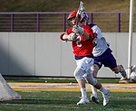 UAlbany Men's Lacrosse defeats Stony Brook on March 31 at Casey Stadium.  Connor Grippe (#2) shoots.