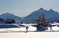 Germany, Bavaria, Upper Bavaria, Winter in Werdenfelser Land: cross country skiing run near Wallgau with Wetterstein mountains