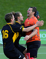 Capital keeper Kyle Pontifex celebrates saving to win the men's National Hockey League final between Harbour and Capital at National Hockey Stadium in Wellington, New Zealand on Sunday, 23 September 2018. Photo: Dave Lintott / lintottphoto.co.nz