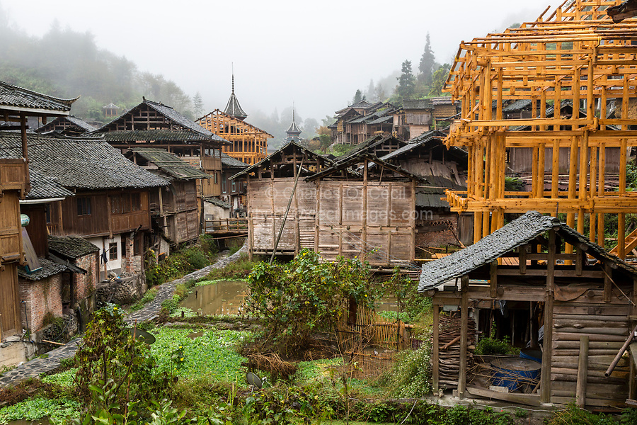 Huanggang, Guizhou, China.  A Dong Ethnic Village, New Houses under Construction.