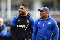 Joe Cokanasiga and Semesa Rokoduguni of Bath Rugby look on prior to the match. Gallagher Premiership match, between Bath Rugby and Newcastle Falcons on February 16, 2019 at the Recreation Ground in Bath, England. Photo by: Patrick Khachfe / Onside Images
