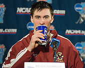 Post practice press conference: Peter Harrold - The Boston College Eagles practiced on Wednesday, April 5, 2006, at the Bradley Center in Milwaukee, Wisconsin, in preparation for their 2006 Frozen Four Semi-Final game against the University of North Dakota.