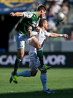 CARSON, CA - June 17, 2012: Portland Timbers defender David Horst (12) and LA Galaxy forward Chad Barrett (9) during the LA Galaxy vs Portland Timbers match at the Home Depot Center in Carson, California. Final score LA Galaxy 1, Portland Timbers 0.