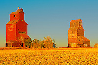 Grain elevators in ghost town<br /> Lepine<br /> Saskatchewan<br /> Canada