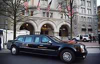 The presidential limousine, aka The Beast, is parked in front of the Trump hotel as United States President Donald Trump attends a dinner with supporters on April 30, 2018 in Washington, DC. <br /> Credit: Olivier Douliery / Pool via CNP /MediaPunch