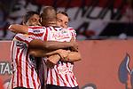 BARRANQUILLA – COLOMBIA _25-09-2013 / Atlético Junior volvió al triunfo tras vencer 1 – 0 a Deportes Quindío en el Estadio Metropolitano de Barranquilla / Samuel Vanegas celebra con sus compañeros el primer tanto de Atlético Junior.