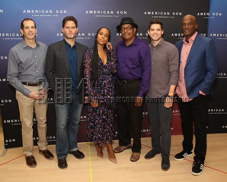 """The American Son team: playwright Christopher Demos-Brown, cast members Steven Pasquale, Kerry Washington, Eugene Lee, and Jeremy Jordan, and director Kenny Leon attend the Cast photo call for the New Broadway Play """"American Son"""" on September 14, 2018 at the New 42nd Street Studios in New York City."""