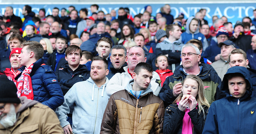 Middlesbrough fans during the first half<br /> <br /> Photographer Chris Vaughan/CameraSport<br /> <br /> Football - The Football League Sky Bet Championship - Bolton Wanderers v Middlesbrough - Saturday 16th April 2016 - Macron Stadium - Bolton<br /> <br /> &copy; CameraSport - 43 Linden Ave. Countesthorpe. Leicester. England. LE8 5PG - Tel: +44 (0) 116 277 4147 - admin@camerasport.com - www.camerasport.com