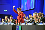 Angela Merkel acknowledges a standing ovation from delegates  after addressing the EPP Congress in the Dublin Conference Centre on Friday.<br /> Picture by Sally MacMonagle<br /> <br /> <br /> Photo from EPP congress repro free