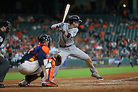 HOUSTON, TX - AUGUST 28:  Matt Duffy #5 of the Tampa Bay Rays bats against the Houston Astros during the game at Minute Maid Park on Sunday, August 28, 2016 in Houston, Texas. Photo by Brad Mangin