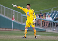 Jon Busch calls out to his teammates. The San Jose Earthquakes defeated Chivas USA 6-5 in shootout after drawing 0-0 in regulation time to win the inagural Sacramento Cup at Raley Field in Sacramento, California on June 12, 2010.