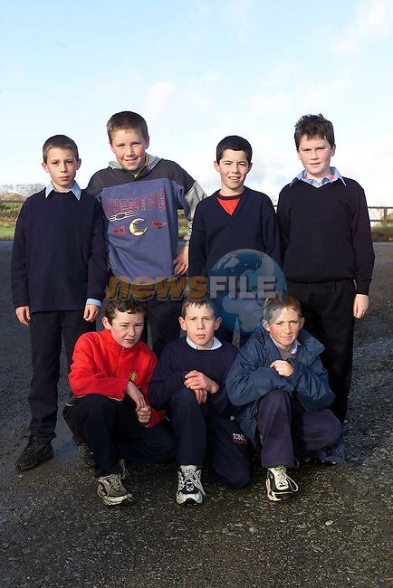 Duleek BNS who took part in the Cross Country School Championships in Bellewstown. Pictured are Back Row L/R, Ian O'Brien, Phillip Clarke, Craig Brodigan and Paul Callaghan. Front Row L/R, Ciaran Byrne, Graham Durkin and Darren Mills..Picture: Paul Mohan/Newsfile