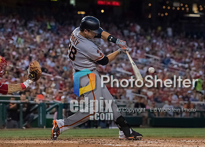 6 August 2016: San Francisco Giants catcher Buster Posey connects for an RBI single in the 4th inning against the Washington Nationals at Nationals Park in Washington, DC. The Giants defeated the Nationals 7-1 to even their series at one game apiece. Mandatory Credit: Ed Wolfstein Photo *** RAW (NEF) Image File Available ***