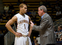 California assistant coach Jay John talks with Justin Cobbs during the game against San Diego at Haas Pavilion in Berkeley, California on November 1st, 2011.  California defeated San Diego, 88-53.