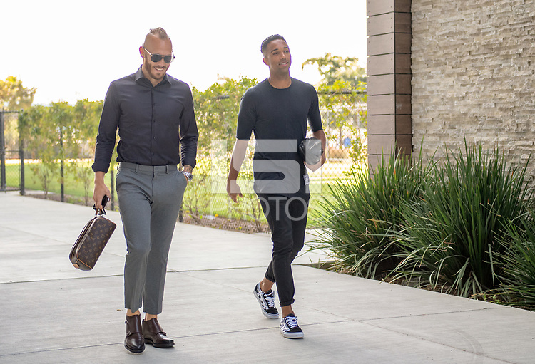 San Jose, CA - Thursday December 31, 2015: Magnus Eriksson, Danny Hoesen prior to a Major League Soccer (MLS) match between the San Jose Earthquakes and the Colorado Rapids at Avaya Stadium.