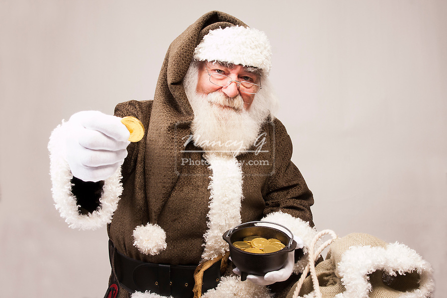 Irish Santa Claus with a pot of gold
