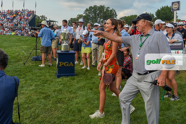 Jena Sims, Brooks Koepka's (USA) fiance, heads to the green on 18 for a huge congratulatory hug after winning the 100th PGA Championship at Bellerive Country Club, St. Louis, Missouri. 8/12/2018.<br /> Picture: Golffile | Ken Murray<br /> <br /> All photo usage must carry mandatory copyright credit (© Golffile | Ken Murray)