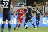 San Jose, CA - Wednesday September 27, 2017: Marco Ureña during a Major League Soccer (MLS) match between the San Jose Earthquakes and the Chicago Fire at Avaya Stadium.