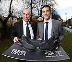 Scotland legend Joe Jordan presents prolific Raith Rovers striker Brian Graham with a pair of Pele boots