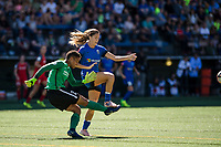 Seattle, WA - Saturday, August 26th, 2017: Adrianna Franch and Katlyn Johnson during a regular season National Women's Soccer League (NWSL) match between the Seattle Reign FC and the Portland Thorns FC at Memorial Stadium.