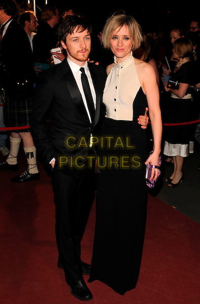 JAMES McAVOY & ANNE-MARIE DUFF.The Orange British Academy Film Awards 2008  Aftershow Party, Grosvenor House Hotel, London, England. .February 10th, 2008..BAFTA Arts full length black suit tie cream top buttons dress married husband wife couple frill neck blouse purple bag.CAP/CAN .?Can Nguyen/Capital Pictures Oscars
