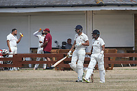 Opening batsmen take to the field during Oakfield Parkonians CC (batting) vs Wickford CC, Shepherd Neame Essex League Cricket at Oakfield Playing Fields on 4th August 2018