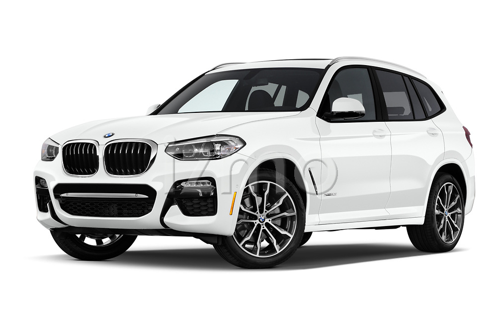 Stock pictures of low aggressive front three quarter view of a 2018 BMW X3 M Sport 5 Door SUV