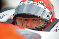 Jun. 21, 2008; Newton, IA, USA; IRL driver Helio Castroneves during qualifying for the Iowa Corn Indy 250 at the Iowa Speedway. Mandatory Credit: Mark J. Rebilas-