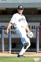 West Michigan Whitecaps catcher Rob Brantly (28) practices his soccer moves before a game vs. the South Bend Silver Hawks at Fifth Third Field in Comstock Park, Michigan August 16, 2010.   West Michigan defeated South Bend 3-2.  Photo By Mike Janes/Four Seam Images