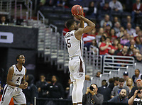 Washington, DC - March 10, 2018: St. Bonaventure Bonnies forward Tshiefu Ngalakulondi (5) attempts a shot during the Atlantic 10 semi final game between St. Bonaventure and Davidson at  Capital One Arena in Washington, DC.   (Photo by Elliott Brown/Media Images International)