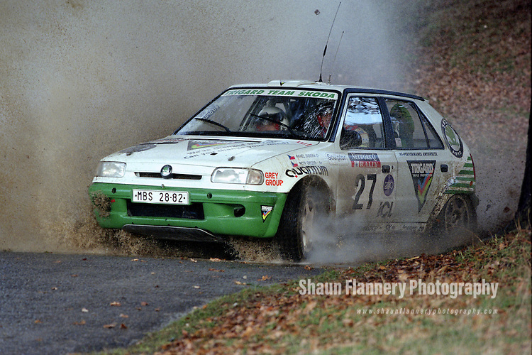Pix: Shaun Flannery/shaunflanneryphotography.com...COPYRIGHT PICTURE>>SHAUN FLANNERY>01302-570814>>07778315553>>..1995 Network Q RAC Rally..19th November - 22nd November 1995..Pavel Sibera, and Petr Gross..Skoda Felicia Kit-Car.Trigard Team Skoda