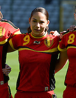 20140410 - BRUSSELS , BELGIUM : Belgian Lola Wajnblum pictured during the female soccer match between BELGIUM U19 and GERMANY U19 , in the third and final game of the Elite round in group 4 in the UEFA European Women's Under 19 competition 2014 in the Koning Boudewijn Stadion , Thursday 10 April 2014 in Brussels . PHOTO DAVID CATRY