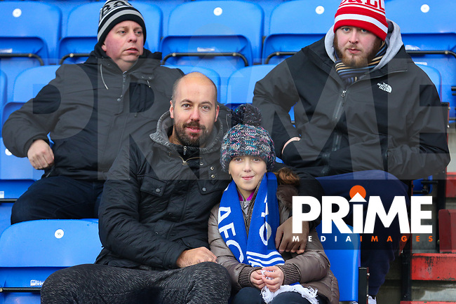 Oldham Athletic fans enjoy the pre-match atmosphere ahead of the Sky Bet League 1 match between Oldham Athletic and Northampton Town at Boundary Park, Oldham, England on 9 December 2017. Photo by Juel Miah / PRiME Media Images.
