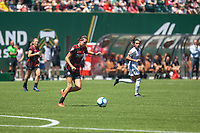 Portland, Oregon - Sunday July 14, 2019: The Portland Thorns beat the Orlando Pride 4-3 at Providence Park in a regular season NWSL game.
