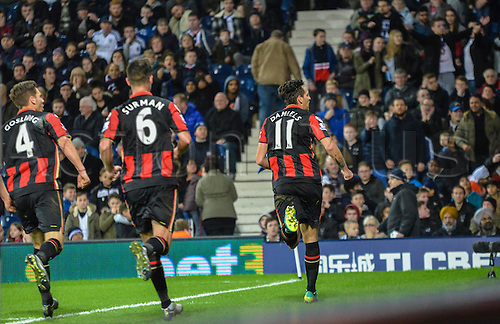 19.12.2015. The Hawthorns, West Bromwich, England. Barclays Premier League. West Bromwich Albion versus AFC Bournemouth. Charlie Daniels of Bournemouth  (right) celebrates scoring a penalty to put Bournemouth 2-1 up.