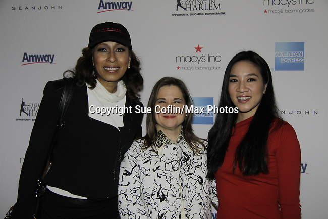 Tamara Tunie & Sharon Cohen & Michelle Kwan = Skating with the Stars - a benefit gala for Figure Skating in Harlem in its 17th year is celebrated with many US, World and Olympic Skaters honoring Michelle Kwan and Jeff Treedy on April 7, 2014 at Trump Rink, Central Park, New York City, New York. (Photo by Sue Coflin/Max Photos)