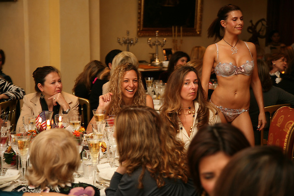 A model displays underwear at a Ladies tea party in Kensington