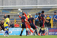 Paul Farman of Stevenage makes a save from a Sam Merson of St Albans flick during St Albans City vs Stevenage, Friendly Match Football at Clarence Park on 13th July 2019